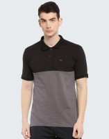 Wildcraft Color Block Men Polo Neck Grey, Black T-Shirt