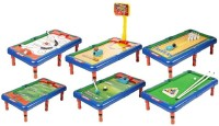 HappyGiftMart 6 in 1 Sports Fun Game Indoor Board Table Toy Includes Ice Hockey, Bowling, Basket Ball, Golf, Football and Snooker Hockey Kit