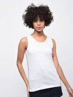 Veronique Casual No Sleeve Solid Women White Top