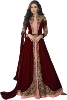 Bipolar Life Faux Georgette Embroidered, Self Design Salwar Suit Material(Semi Stitched)