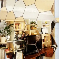 Wall1ders Medium 20 Hexagon 10 Silver 10 Golden 3D Acrylic Decorative Mirror Wall Stickers for Living Room, Bedroom, Hall & Home Offices.(Pack of 20)
