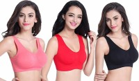 Smooth&Style Air Bra, Stretchable Non-Padded and Non-Wired for Women and Girls, Freesize (Size 28 to 36) Women, Girls Sports Non Padded Bra(Red, Black, Pink)