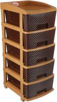 NAKODA Plastic Free Standing Chest of Drawers(Finish Color - Coffee Brown)