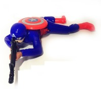 OUD Crawling Captain America Toy Action with Lights and Sound Color Red and Blue Shot Sounds