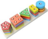 Toyshine Wooden Angle Blocks Stacker Shape Sorter Column Puzzle(21 Pieces)