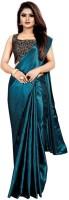 Market Magic World Plain Bollywood Satin Blend Saree(Light Green)