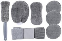 Zahuu 1 Piece car tire brush + 3 Pieces towel cloth waxing cake + 1 Piece 8 type high and low hair washing car sponge block + 1 Piece of each glass towel / Warp knitting towel / Waffle + 1 piece high and low hair gloves Combo