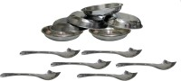 Dynore 12pcs stainless steel dessert plates with dessert spoons Bowl Spoon Serving Set(Pack of 12)