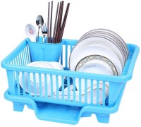 Bluewhale New 3 IN 1 Large Sink Set Dish Rack Drainer Plastic Kitchen Rack(Blue)