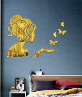 Wall1ders Medium Angel & 4 Butterflies Gold (Size 51 x 35 cm) 3D Acrylic Stickers, Preumium Quality, 3D Acrylic Mirror Wall Stickers for Living Room, Hall, Bed Room & Offices.(Pack of 5)
