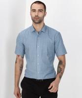 Arrow New York Men Checkered Formal Blue Shirt
