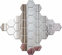 Wall1ders Medium 30 Hexagon & 10 Butterflies Silver (Size 10.5 x 12.1) 3D Acrylic Stickers, 3D Acrylic Mirror Wall Stickers for Living Room, Hall, Bed Room & Home.(Pack of 30)