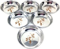 Seven star Authentic Indian Sweet Plate Stainless Steel Vegetable Bowl(Silver, Pack of 6)