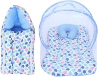 Miss & Chief Baby Combo Of Mattress With Mosquito Net & Sleeping Bag Baby Bed & Sleeping Bag Polycotton Apple Print(Fabric, Blue)