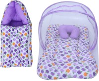 Miss & Chief Baby Combo Of Mattress With Mosquito Net & Sleeping Bag Baby Bed & Sleeping Bag Polycotton Apple Print(Fabric, Purpal)