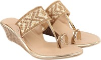 Orysta Women Gold Wedges