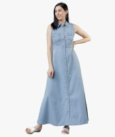 Tokyo Talkies Women Maxi Light Blue Dress
