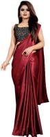 Lady Style Plain Bollywood Satin Blend Saree(Maroon)