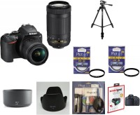 Nikon D3500 (With Basic Accessory Kit) DSLR Camera Body with Dual lens: 18-55 mm f/3.5-5.6 G VR and AF-P DX Nikkor 70-300 mm f/4.5-6.3G ED VR(Black)