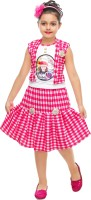 FTC FASHIONS Girls Casual Top Skirt(Pink)