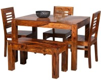 True Furniture Sheesham Wood 4 Seater Dining Table Set with Chairs for Home (Honey Teak Brown) Solid Wood 3 Seater Dining Set(Finish Color - Honey Teak Brown)