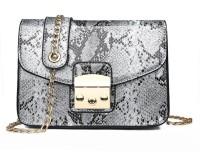 Light House Glossy Snake Print Slingbag PU Leather Women Crossbody Bag (White) Sling Bag