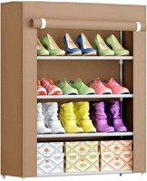 Ebee Metal Collapsible Shoe Stand(Brown, 4 Shelves)