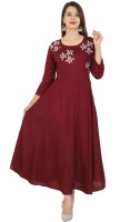 BEING JAIPURI Festive & Party Embroidered Women Kurti(Maroon)