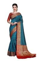 Rola Trendz Embroidered, Woven Kanjivaram Art Silk, Cotton Silk Saree(Blue)
