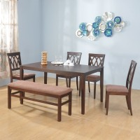@home by Nilkamal Peak Solid Wood 6 Seater Dining Set(Finish Color - Cappucino)
