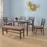 @home by Nilkamal Gem Solid Wood 6 Seater Dining Set(Finish Color - Cappucino)