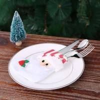 Zenuss 4pcs/set Santa Claus Christmas Cutlery Holders Fork Knife Spoon Bags Pocekts Set Christmas Decor Ornaments Storage Pouch
