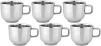 RISHI METAL Stainless Steel Cup Mug for Tea & Coffee (TIP-TOP) - Set of 6 - 100ml Steel(Silver, Pack of 6)