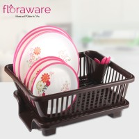 Floraware 3 in 1 Large Sink Set Dish Rack Drainer with Tray for Kitchen,Dish Rack Plastic Kitchen Rack(Brown)