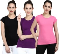 Fasha Women Black, Purple, Pink T Shirt(Pack of  3)