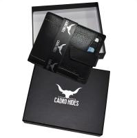 CADROHIDES Men Black Genuine Leather Wallet(8 Card Slots)