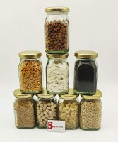 Satyam Kraft Glass Jar and Container  - 200 ml Glass Spice Container(Pack of 8, Clear)