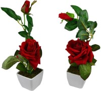 KOONIV Artificial Red Rose Flower With Pot Real Touch Flowers - Red Rose Artificial Flower  with Pot(16 inch, Pack of 2)