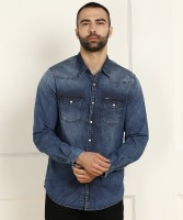 Pepe Jeans Men Solid Casual Blue Shirt