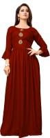 GADARA FASHION Women Gown Maroon Dress