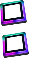 D'Mak 6 Watt Square Surface Dual Multi Color PGB (Pink,Green,Blue) LED Panel Light White+Pgb Lamp Downlight AC 100-265V Lights with IC Driver Energy Super Saver (6.00 Watts) | led color panel light | (Pack OF 02) Flush Mount Ceiling Lamp