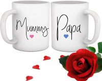 Tied Ribbons Anniversary Gift for Mom and Dad Artificial Rose and Set of 2 Printed Coffee Ceramic Mug(325 ml, Pack of 3)