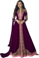 Febadditions Crepe Embroidered, Self Design, Solid Gown/Anarkali Kurta & Bottom Material(Semi Stitched)