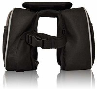 Golden Riders Bicycle Handlebar Pannier Saddle Bag Double-side Black Fabric Motorbike Saddlebag(2 L)