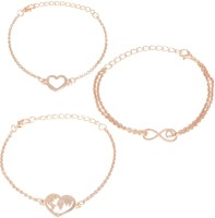 Jewels Galaxy Copper Gold-plated Bracelet Set(Pack of 3)