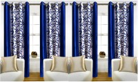 ATOZ Home Decor 214 cm (7 ft) Polyester Door Curtain (Pack Of 4)(Floral, Blue)