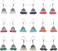 Yellow Chimes Stylish Combo 9 Pairs Lively Colors Silver Beads Brass Jhumki Earring