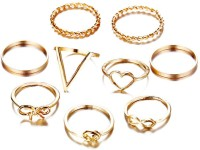 Jewels Galaxy Trendy 9 Pcs Combo Fashion Alloy Gold Plated Ring Set