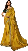 Vaidehi Fashion Embroidered Fashion Pure Silk Saree(Green, Yellow)