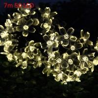 Christmas Tree Decors 7m 50 LED Solar String Light Peach Blossom Shape Lamp Xmas Tree Ornament(Pack of 1)